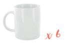 Mug en porcelaine blanche - Lot de 6 - Supports en Céramique et Terre Cuite 10049 - 10doigts.fr