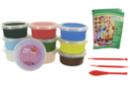 Pâte à modeler Soft Clay couleurs vives assorties - Set de 10 pots de 40 gr - Pâtes à modeler qui sèchent à l'air - 10doigts.fr