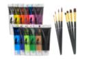 Peinture acrylique - Set de 12 tubes 75 ml (Toutes les couleurs sauf or et argent) + CADEAU : 1 set de 8 pinceaux (4 brosses plates + 4 pinceaux ronds)  à poils synthétiques - Acryliques scolaire 14352 - 10doigts.fr