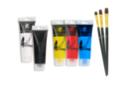 Peinture acrylique - Set de 5 tubes 75 ml : jaune, rouge, bleu clair, noir et blanc + CADEAU : 1 set de 3 brosses plates à poils synthétiques - Acryliques scolaire 14340 - 10doigts.fr