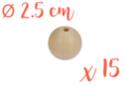 Perles bois 2,5 cm / Ø trou 6 mm- 15 perles - Perles en bois 16859 - 10doigts.fr