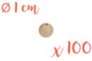 Perles bois 1 cm / Ø trou 3 mm - 100 perles - Perles en bois 05154 - 10doigts.fr