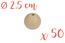 Perles bois  2,5 cm / Ø trou 6 mm- 50 perles - Perles en bois 03826 - 10doigts.fr