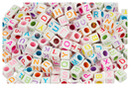 Perles cubiques alphabet multicolore - 280 perles - Perles Alphabet - 10doigts.fr