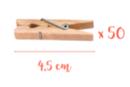 Pinces à linge 4,5 cm - Lot de 50 - Pinces à linge en bois brut - 10doigts.fr