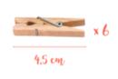 Pinces à linge 4,5 cm - Lot de 6 - Pinces à linge en bois brut 05760 - 10doigts.fr