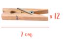 Pinces à linge 7 cm - Lot de 12 - Pinces à linge en bois brut - 10doigts.fr
