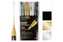 Marqueurs Posca PC1MC pointes très fines, coniques - 4 couleurs (or, argent, blanc, noir) - Feutres d'écriture 08207 - 10doigts.fr