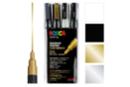 Posca PC3M pointes fines - 4 feutres Posca (or, argent, blanc, noir) - Feutres pointes fines 08208 - 10doigts.fr