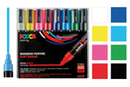 POSCA PC5M pointes moyennes (1,8 à 2,5 mm) - 8 couleurs - Marqueurs POSCA - 10doigts.fr