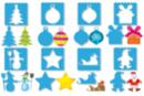 Pochoirs + tracettes Noël 3 en 1 - 8 Modèles - Pochoirs fêtes 19884 - 10doigts.fr