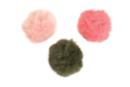 Pompons en fausse fourrure - couleurs rose clair, rose corail, kaki - Pompons 36104 - 10doigts.fr