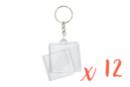 Porte-clés carrés (4 x 4 cm) - Lot de 12 - Plastique Transparent 18133 - 10doigts.fr