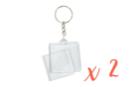 Porte-clés carrés (4 x 4 cm) - Lot de 2 - Plastique Transparent - 10doigts.fr