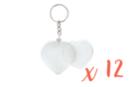 Porte-clés cœurs (5 x 4,8 cm) - Lot de 12 - Plastique Transparent 18126 - 10doigts.fr