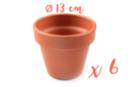 Pots en terre cuite Ø 13 cm - Hauteur 12 cm - 6 pots - Supports en Céramique et Terre Cuite 04045 - 10doigts.fr