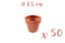 Pots en terre cuite Ø 3,5 cm - Hauteur 3 cm - 50 pots - Supports en Céramique et Terre Cuite 06989 - 10doigts.fr