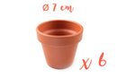 Pots en terre cuite Ø 7 cm - Hauteur 6 cm - 6 pots - Supports en Céramique et Terre Cuite 04042 - 10doigts.fr