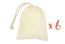 Sac coton 19 x 23 cm - Lot de 6 - Support textile à customiser 38231 - 10doigts.fr