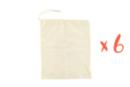 Sacs coton 25 x 35 cm - Lot de 6 - Support textile à customiser 06026 - 10doigts.fr