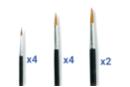 Pinceaux poils de poney (4 x N°6; 4 x N°10; 2 x N°14) - Set de 10 - Pinceaux 03689 - 10doigts.fr