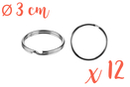 Anneaux brisés Ø 3 cm - Lot de 12 - Porte-clés pour bijoux - 10doigts.fr