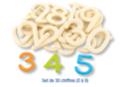 Chiffres en bois naturel - 30 pièces - Motifs bruts 11657 - 10doigts.fr