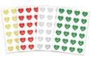 Stickers cœurs Calendrier de l'Avent - Set de 96 gommettes - Gommettes Alphabet, messages - 10doigts.fr