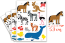 Gommettes animaux 2 - 4 planches (52 maxi gommettes) - Gommettes Animaux 18073 - 10doigts.fr