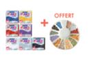 FIMO : Kit de 7 couleur pailletée + CADEAU roulette canes animaux - Fimo Effect 16525 - 10doigts.fr