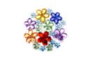 Strass fleurs assorties - 1 set (200 strass) - Décorations Fleurs - 10doigts.fr