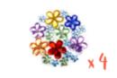 Strass fleurs assorties - 4 sets (800 strass) - Décorations Fleurs 13347 - 10doigts.fr