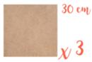 Support carré en médium MDF 30 x 30 cm - 3 pièces - Supports plats 12143 - 10doigts.fr