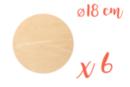 Support bois rond Ø 18 cm (Epaisseur : 5 mm) - Lot de 6 - Supports plats - 10doigts.fr
