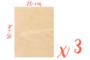 Rectangle en bois 20 x 40 cm, Ep: 5 mm - 3 pièces  - Supports plats 18618 - 10doigts.fr