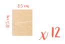 Rectangle en bois 8.5 x 12.5 cm, Ep: 3 mm - 12 pièces - Supports plats 08379 - 10doigts.fr