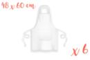 Tablier blanc, taille enfant (48 x 60 cm) - Lot de 6 - Coton, lin 12751 - 10doigts.fr