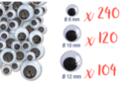 Yeux mobiles noirs :  Ø 8 mm (x 240) + Ø 1 cm (x 120) + Ø 1,2 cm (x 104) - 464 yeux - Cartes et Stickers 12744 - 10doigts.fr