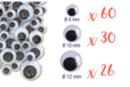 Yeux mobiles noirs : Ø 8 mm (x 60) + Ø 1 cm (x 30) + Ø 1,2 cm (x 26) - 116 yeux - Cartes et Stickers - 10doigts.fr