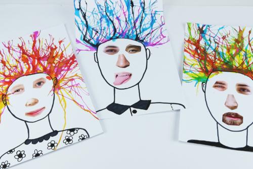 Portraits rigolos et colorés
